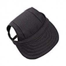 Canvas Beret Cap Beseball Hat Sunbonnet With Ear Holes For Small Dog Cat Size S M - Black , S