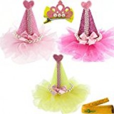3 Pcs Adorable Cute Cat Dog Pet Birthday Party Hat Shaped Hair Clips and 1 Pcs Crown Shaped Clip for Kitten Puppy Small Dogs Cats Pets (B)