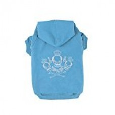 Kasit Pet Dog Puppy Hooded Sweater with Crown Skull Pattern for Small Medium Large Dogs (S, Blue)
