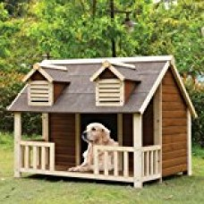 1PerfectChoice Rufus Large Log Cabin Dog House Outdoor Pet Shelter Cage Kennel Porch Cream Oak