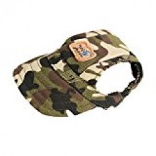 AENMIL Pet Outdoor Sunhat Dog Baseball Hat with Two Ear Holes and Elastic Chin Strap, Doggy Puppy Dog Visor Hat Sports Baseball Cap for Small Dogs (Camo,M)
