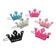 PET SHOW Crown Rhinestone Pet Cat Dog Hair Bows With Frog Clips Grooming Accessories Assorted Color Pack of 20