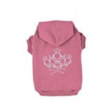Kasit Pet Dog Puppy Hooded Sweater with Crown Skull Pattern for Small Medium Large Dogs (M, Pink)