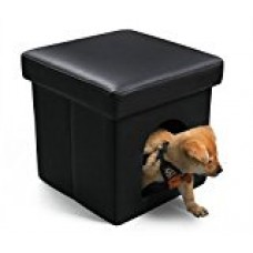 DEKINMAX Pet Bed Ottoman Cat Condo with Leather, Black Collapsible Pet house for Cat Small Dog