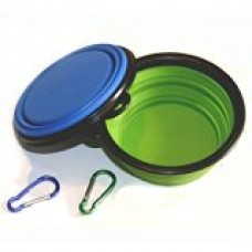 Comsun 2-pack Collapsible Dog Bowl, Food Grade Silicone BPA Free FDA Approved, Foldable Expandable Cup Dish for Pet Cat Food Water Feeding Portable Travel Bowl Blue and Green Free Carabiner ¡