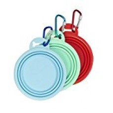 Collapsible Dog Bowls - Set of 3 Portable, Pocket Sized, Lightweight, Leakproof Food and Water Bowls, 100% BPA Free, Plus Bonus Key Chain - By Ace Pet Supply