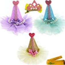 3 Pcs Adorable Cute Cat Dog Pet Birthday Party Hat Shaped Hair Clips and 1 Pcs Crown Shaped Clip for Kitten Puppy Small Dogs Cats Pets (A)