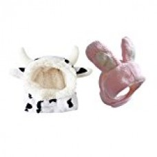 2 pcs combo Black White Cow & Pink Bunny Pet Hat for Cats & Small Dogs Funny Pet Cosplay Costume with Stuffed Ears