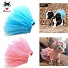 AnnaEye Pet Costume Dog Clothes Apparel Handcrafted Tulle Skirt Puppy Doggy Tutu Dress Blue&Pink