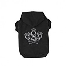 Kasit Pet Dog Puppy Hooded Sweater with Crown Skull Pattern for Small Medium Large Dogs (S, Black)