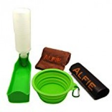 Alfie Pet by Petoga Couture - Elva Pet Walking Set with Travel Bowl, Microfiber Fast-Dry Towel, Water Bottle and Zip-lock Storage Bag - Color: Green