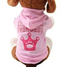 2017 Hot Pet Coat! AMA(TM) Pet Puppy Small Dog Crown Pattern Clothes Chihuahua Winter Soft Warm Hooded Sweatershirt Coat T-Shirt Doggy Apparel Costume (XS, Pink)