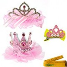 2 Pcs Adorable Cute Cat Dog Pet Birthday Party Crown Shaped Lace Hair Clips and 1 Pcs Crown Shaped Clip for Kitten Puppy Small Dogs Cats Pets (C)