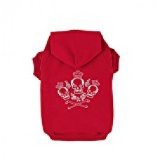 Kasit Pet Dog Puppy Hooded Sweater with Crown Skull Pattern for Small Medium Large Dogs (S, Red)