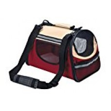 BINGPET Soft Sided Dog Carrier Personalized Cat Pet Travel Tote Bag Wine Red & Beige Small