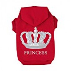 Kasit Pet Dog Puppy Clothes PRINCESS Hoodies with Imperial Crown Pattern for Small Medium Large Dogs (XS, Red)