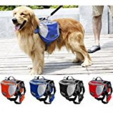 abcGoodefg® Dog Backpack Outdoor Adjustable Saddlebag Style Dog Accessory, Large Capacity for Guide Dog, Police Dog Outdoor Adventure, Travel & Transport/Carriage. (Red, M)