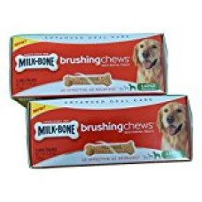 Milk Bone Brushing Chews Daily Dental Treats for Large Dogs, 5-Count 6.74 Oz. (Pack of 2)