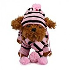 AMA(TM) 6PCS Pet Cat Small Dog Puppy Doggie Lovely Winter Soft Warm Hat +Scarf +Leg Warmers Outfits Clothes Set (S, Pink)