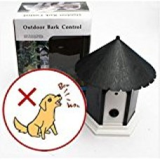 77tech Outdoor Ultrasonic Bark Deterrent Controller for Pet Dog with Bird House Design (Black)
