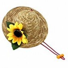 Beautiful 3D Sunflower Handcrafted Woven Straw Pet Hat Costume Cat Dog Hat Toy Hat Novelty Cosplay Farmer Hat w/ Adjustable Chin String