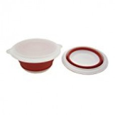 Alfie Pet by Petoga Couture - Set of 2 Fae Silicone Pet Expandable/Collapsible Travel Bowl with Lid - Color: Red, Size: Large - 4.5 Cups